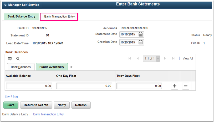 Funds Availability tab