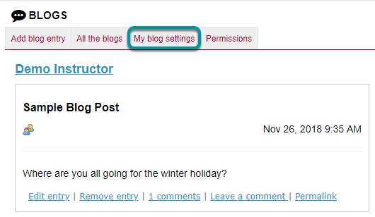 Select the My Blog Settings link