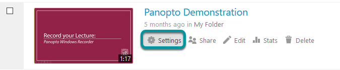 Settings button for Panotpo video