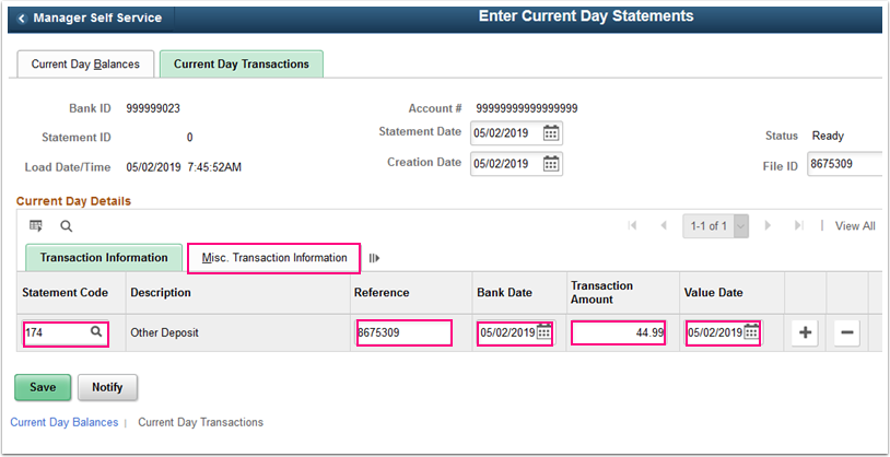Current Day Transactions tab