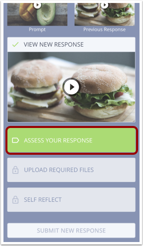 Image of the exercise page in the mobile interface with the Assess Your Response button highlighted