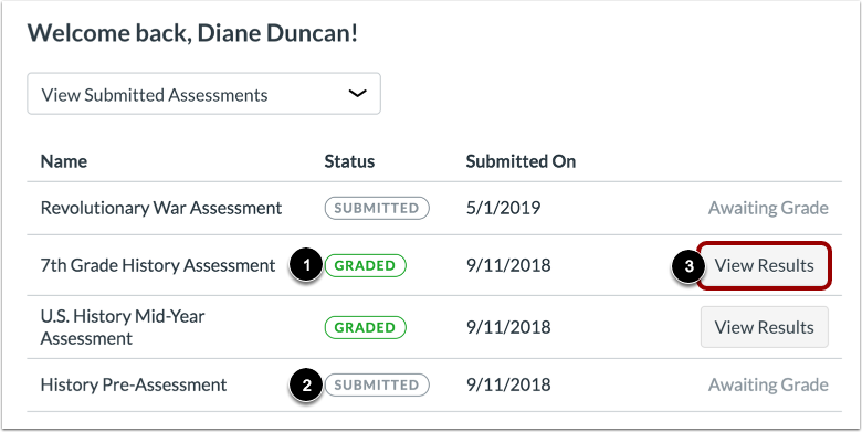 Manage Submitted Assessments