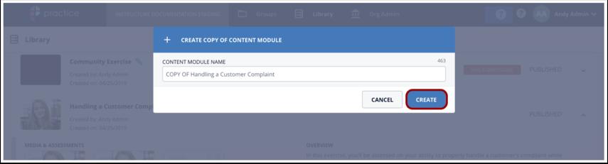 Click Create button