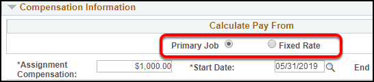 Calculate pay from option