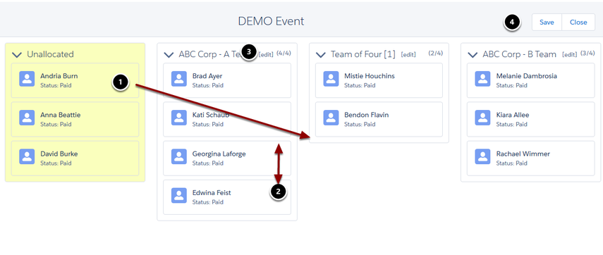 Arranging Team/Tables