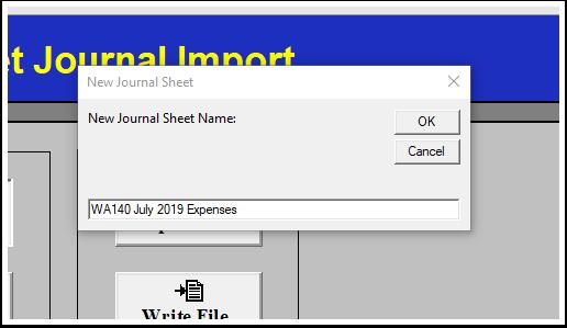 New Journal Sheet window