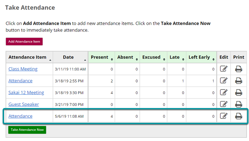 Your new attendance item will appear in the Attendance Items list.