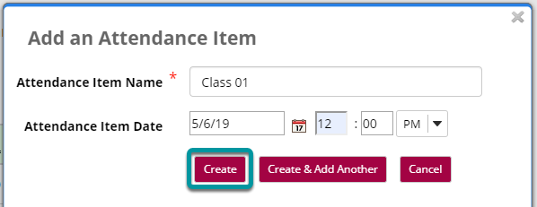 Select Create to save the item.