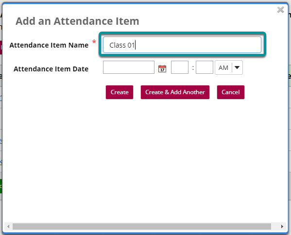 In the Add an Attendance Item window, enter a name for your new attendance item.
