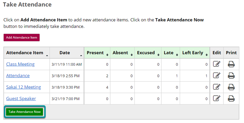 Select the Take Attendance Now button at the bottom of the table on the Take Attendance page.