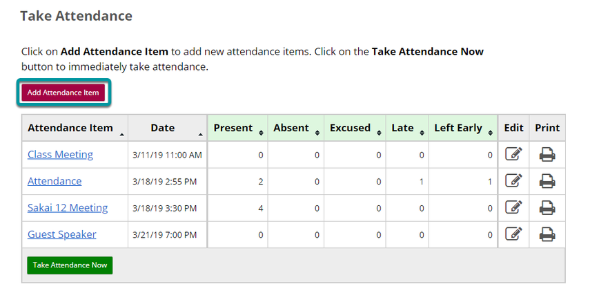 Select the Add Attendance Now button on the Take Attendance page.