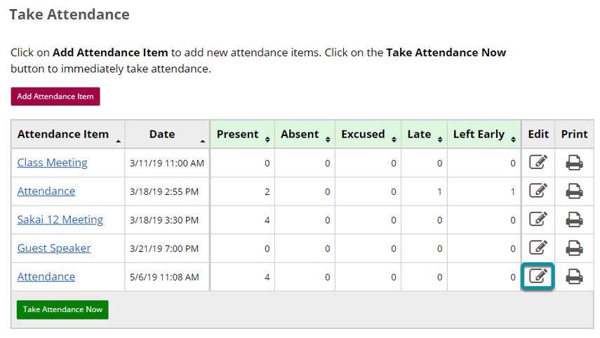Edit an Attendance Item.