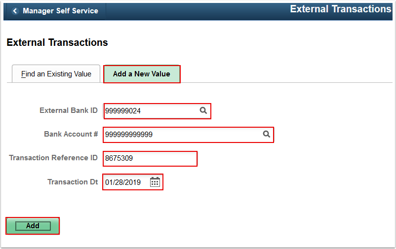 External Transactions Add a New Value tab