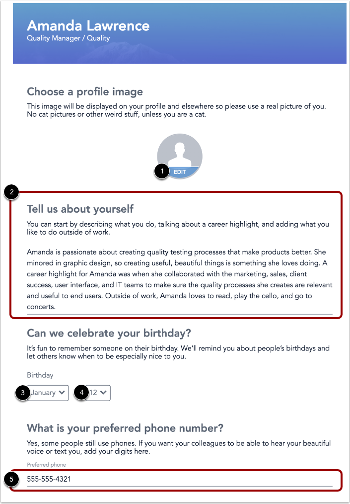 Image of profile editor page with various areas highlighted
