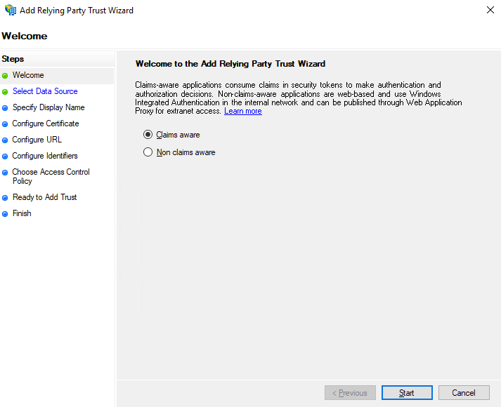 Add a Relying Party Trust to your AD Environment Wizard