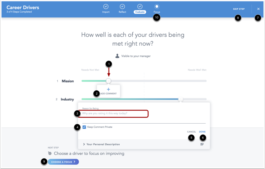 Image of Evaluate page and driver rating comment box