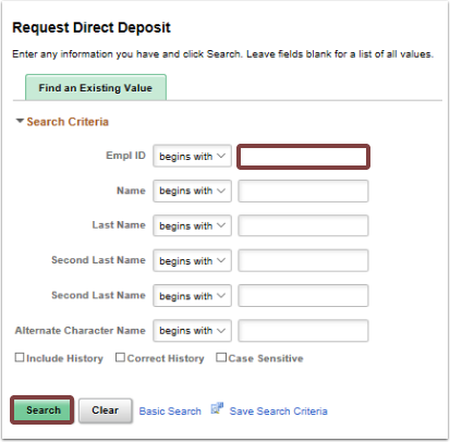 Request Direct Deposit search page