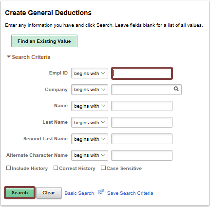 Create General Deductions search