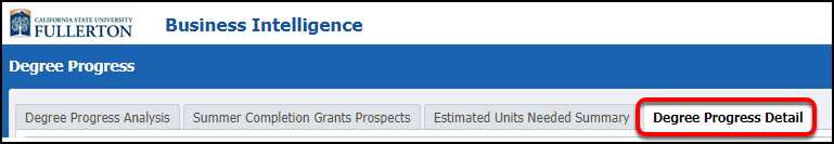 Degree Progress Detail selection
