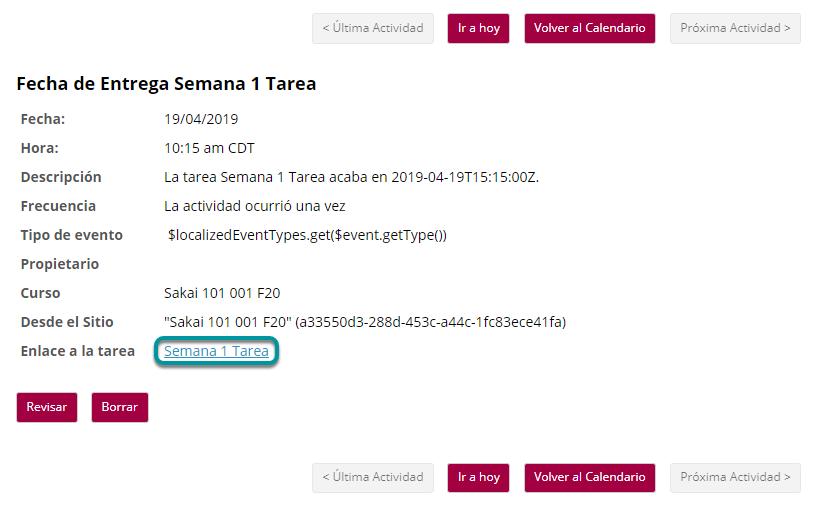 O dé clic en el enlace directo a la asignación/tarea desde Horario/Calendario (Schedule/Calendar).
