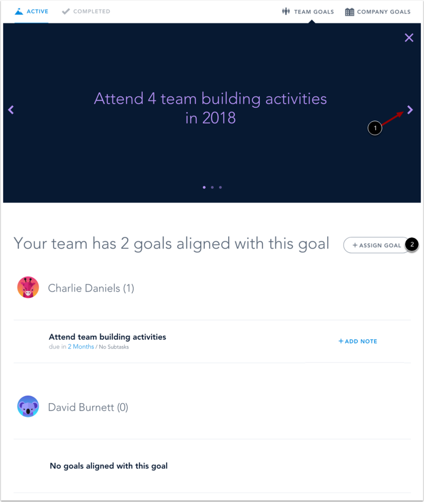 View Team Goal Details