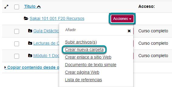Dé clic en Acciones (Actions), y luego en Crear Nueva Carpeta (Create Folders)