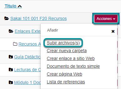 Dé clic en Acciones (Actions), y luego en Subir Archivos (Upload Files)