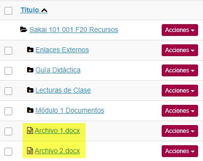 Ver archivos en Recursos