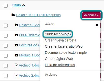 En el menú desplegable Acciones (Actions), seleccione Subir Archivos (Upload Files)