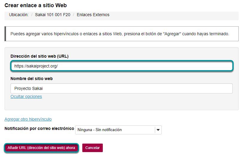 Ingrese la dirección Web. Entonces, haga clic en Agregar Enlaces Web Ahora (Add Web Links Now).