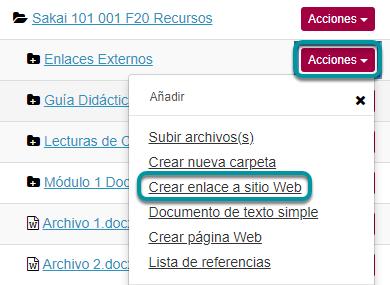 Dé clic en Acciones (Actions). Luego, en Crear enlace a sitio Web (Add Web Links, URLs).