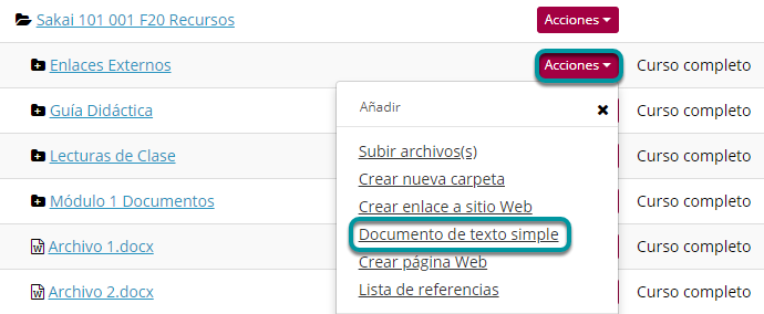 Dé clic en Acciones (Actions). Luego, en Crear Documento de Texto Simple (Create Text Document).