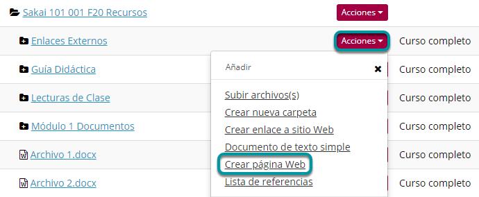 Dé clic en Acciones (Actions). Luego, en Crear Página Web (Create HTML Page).