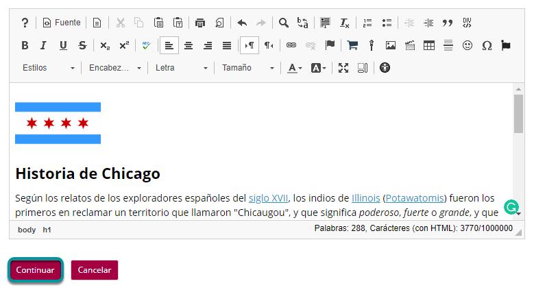 Utilice el Editor de Texto Enriquecido (Rich Text Editor), para formatear o añadir enlaces y materiales (media).