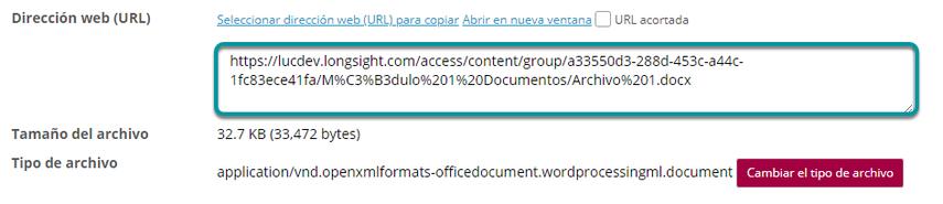 Copie la dirección URL.