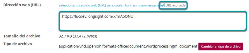 Copie la dirección URL corta (opcional).