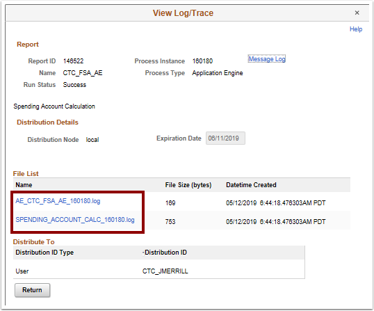 View Log/Trace pagelet