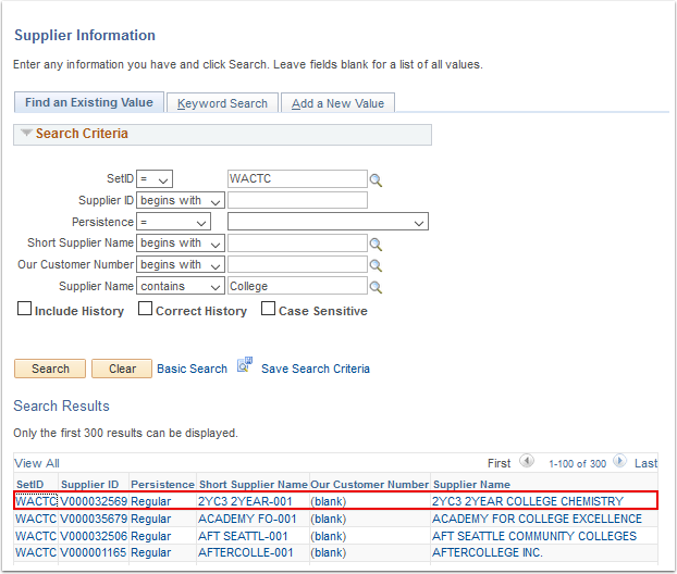 Supplier Information page - Search Results displayed