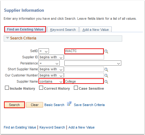 Supplier Information search page - Find an Existing Value tab