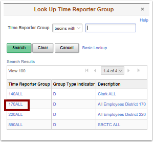 Look Up Time Reporter Group pagelet