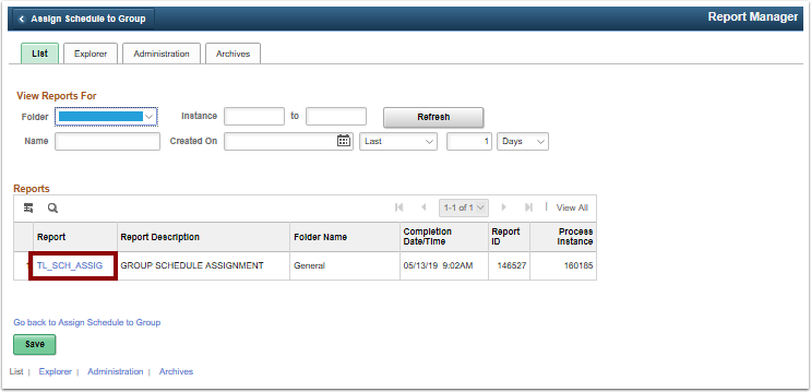 Report Manager page