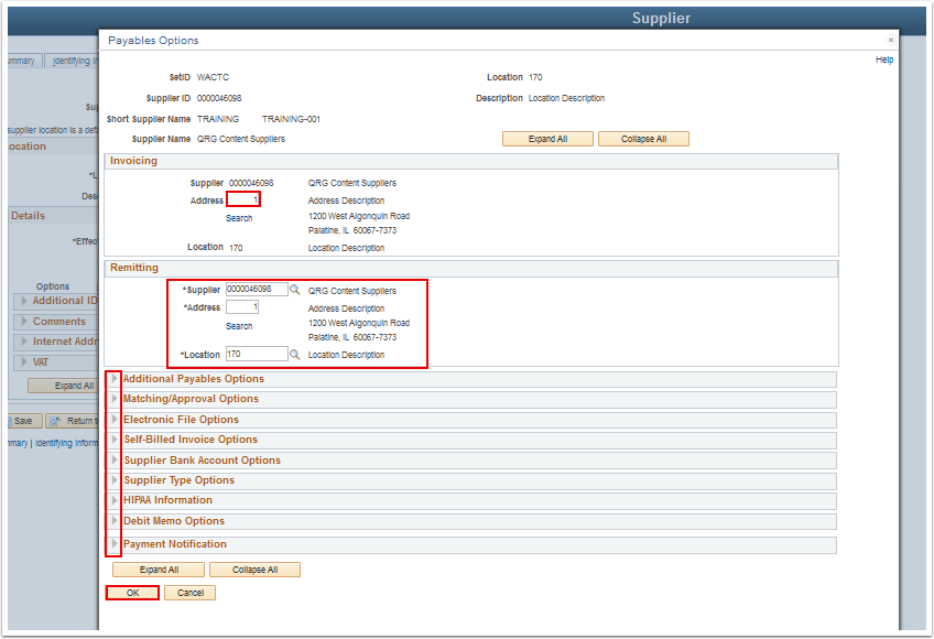 Payables Options page