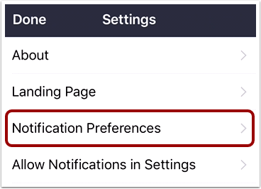 Open Notification Preferences