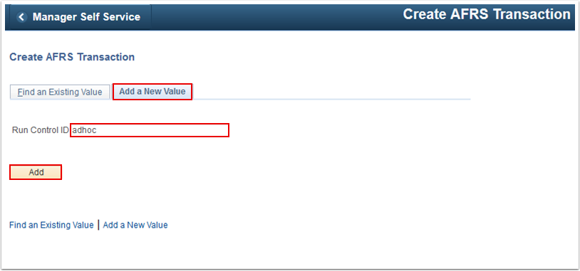 Create A F R S Transaction Add a New Value tab