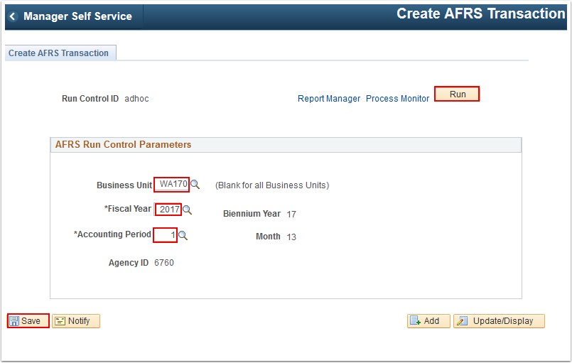 Create A F R S Transaction page