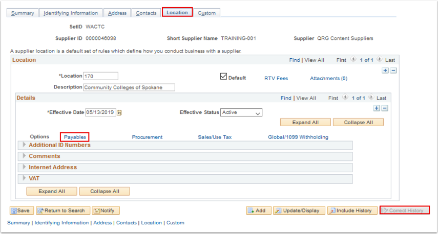 Suplier page - Location tab