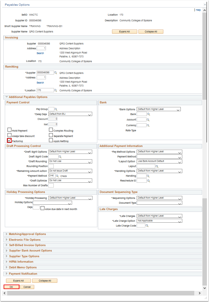 Payables Options page with the Additional Payables Options section expanded
