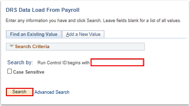 DRS Data Load from Payroll search page