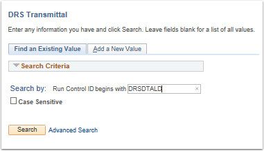 DRS Transmittal search page