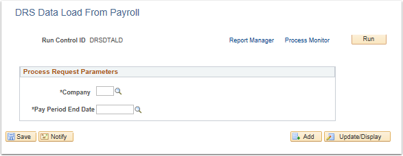 DRS Data Load from Payroll page